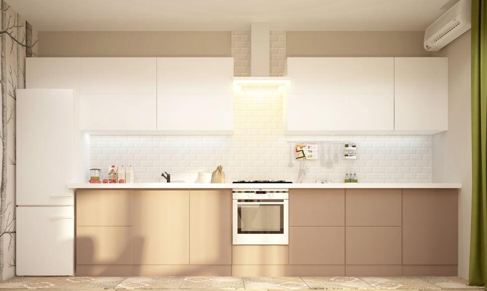Визуализация кухни-гостиной в бежевых тонах с зеленными оттенками 28 кв.м, бежевый кухонный гарнитур, вытяжка, духовой шкаф, холодильник
