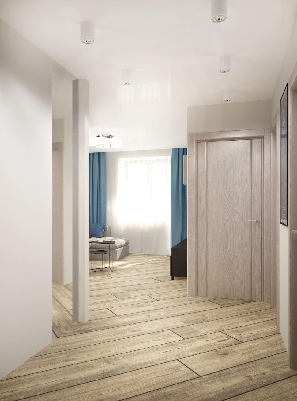 Дизайн-проект коридора в светлых тонах 5 кв.м, бежевый ламинат, белые накладные светильники, зеркало, декор, синие портьеры