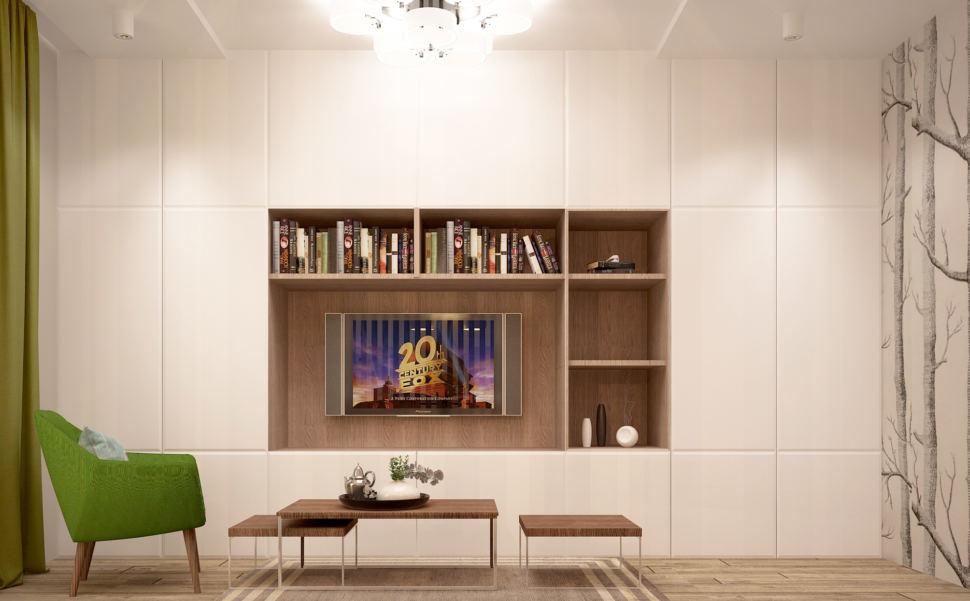 Дизайн-проект кухни-гостиной в бежевых тонах с зеленными оттенками 28 кв.м, зеленое кресло, журнальный столик, шкаф