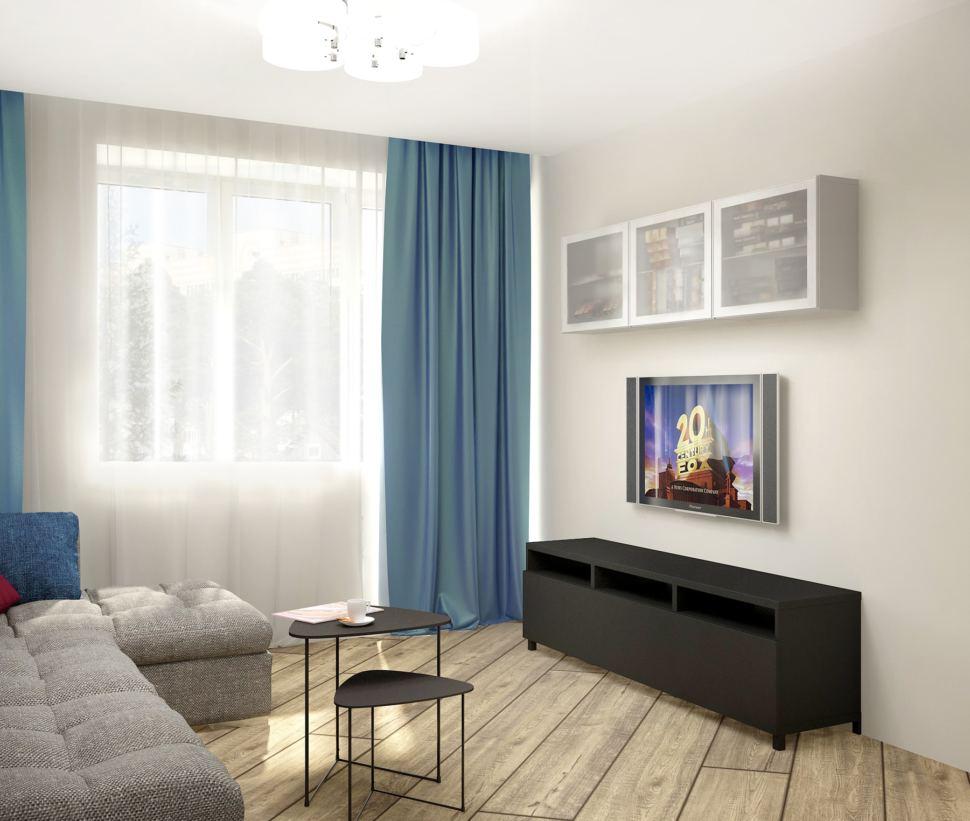 Дизайн-проект гостиной в серых тонах с синими акцентами 18 кв.м, тумба под ТВ, телевизор, белая подвесная полка