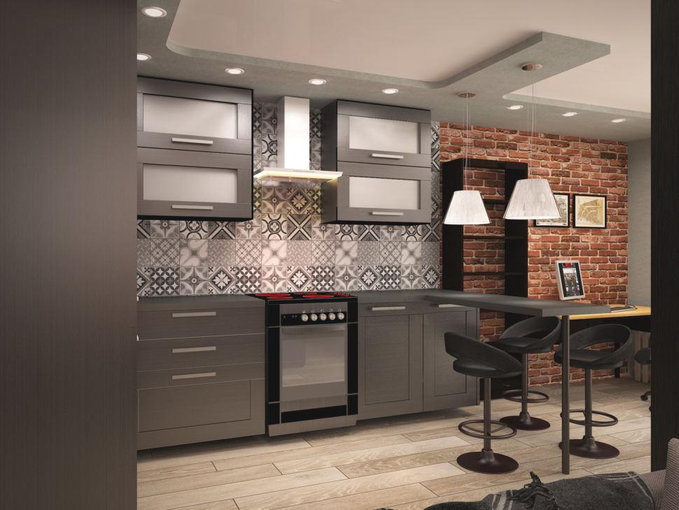 Дизайн-проект кухни- гостиной в темных тонах 14 кв.м, серая плитка с орнаментом, черный кухонный гарнитур