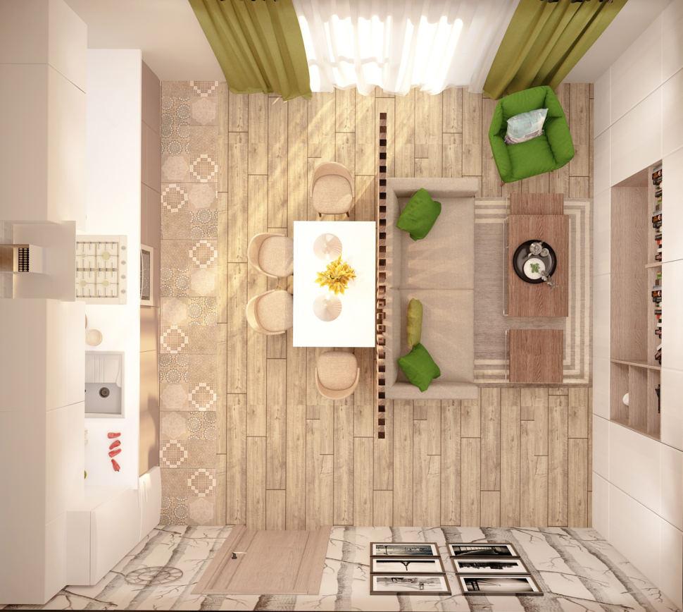 Визуализация кухни-гостиной в бежевых тонах с зеленными оттенками 28 кв.м, бежевый диван, обеденный стол, кухонный гарнитур