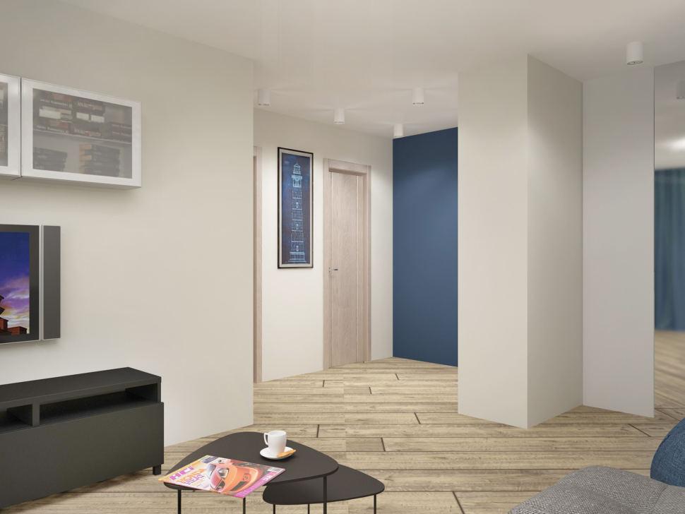 Визуализация гостиной в серых тонах с синими акцентами 18 кв.м, бежевый ламинат, подвесная полка, журнальный столик, черная тумба