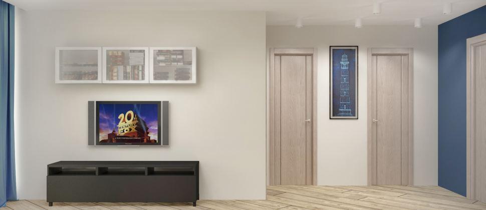 Дизайн интерьера гостиной в серых тонах с синими акцентами 18 кв.м, черная тумба под ТВ, белая подвесная полка, телевизор, ламинат