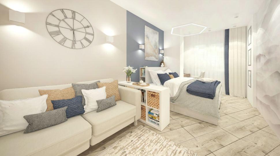 Визуализация гостиной-спальни в белых тонах с синими оттенками 15 кв.м, бежевый диван, белая кровать, тумба, часы