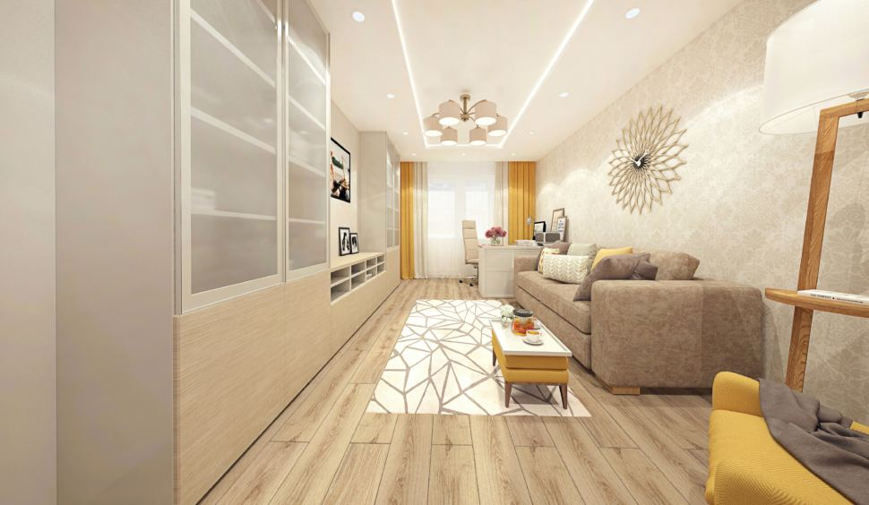 Дизайн-проект гостиной 18 кв.м с рабочей зоной, современный стиль с горчичными оттенками, люстра, кресло и пуф горчичного цвета