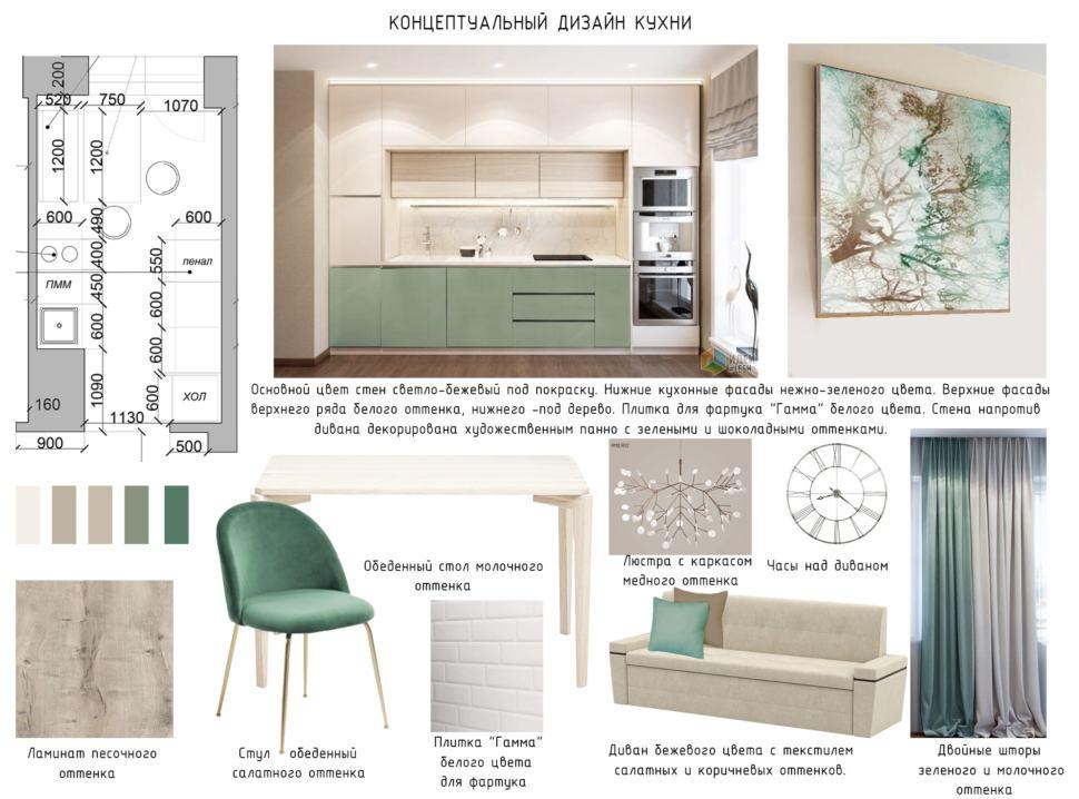 Концептуальный дизайн кухни 10 кв.м. в зеленых тонах, ламинат песочного цвета, диван, шторы, люстра