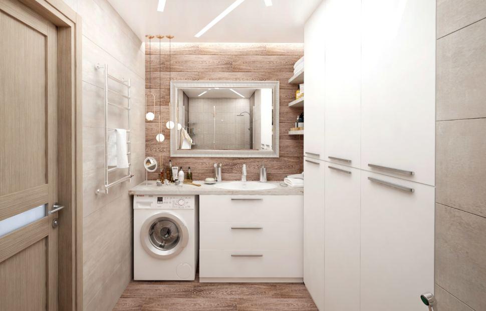 Дизайн интерьера ванной комнаты в белых тонах 8 кв.м, стиральная машинка, белая тумба, раковина, зеркало, подвесные светильники