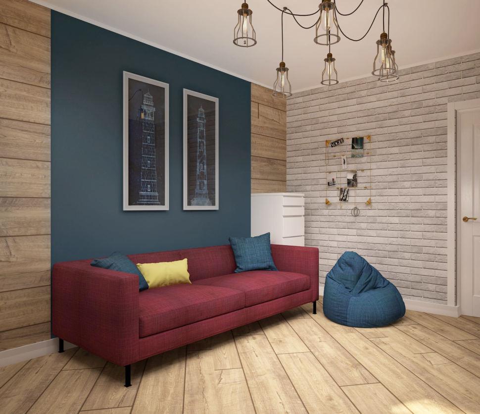 Дизайн детской 13 кв.м с бордово-синими оттенками, красный диван, белый комод, синие подушки, люстра