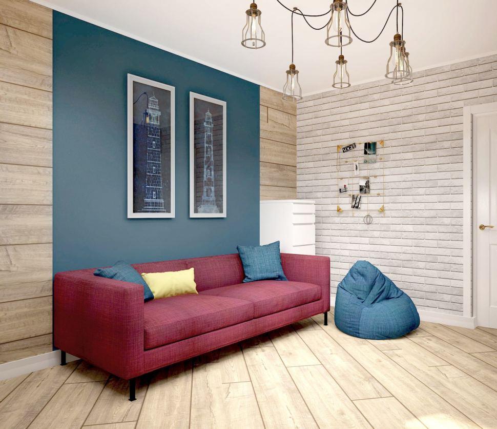 Визуализация детской 13 кв.м в теплых тонах, синее кресло, бордовый диван, люстра