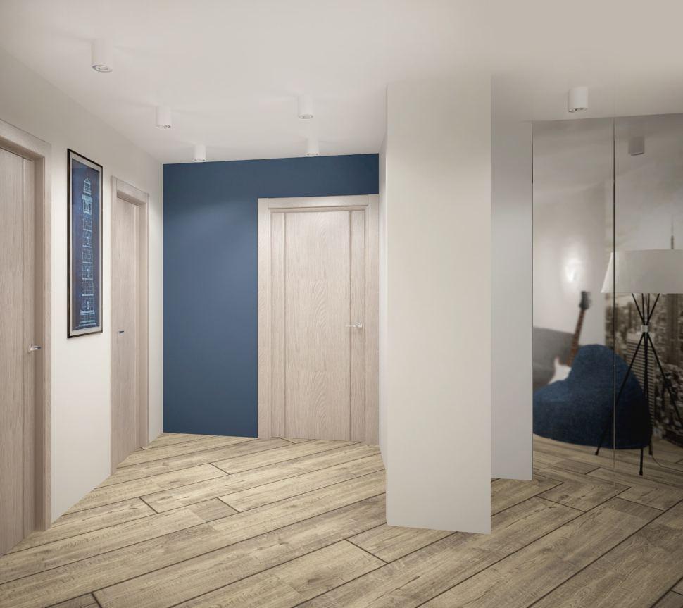 Проект гостиной в серых тонах с синими акцентами 18 кв.м, бежевый ламинат, белые накладные светильники, декор, зеркало, шкаф
