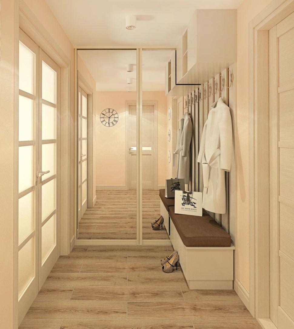 Дизайн-проект прихожей с гардеробной 9 кв.м в современном стиле с бежевыми оттенками, гардеробная, зеркало, бежевая скамья, белая полка