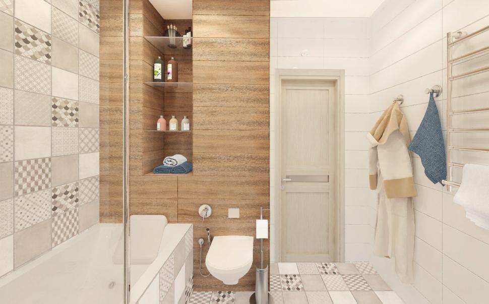 Визуализация ванной комнаты в белых тонах с древесными оттенками 6 кв.м, полки, ванна, унитаз, геометрическая плитка, сушилка, светильники