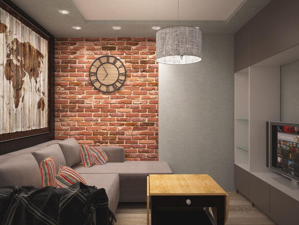 Дизайн интерьра кухни- гостиной в темных тонах 14 кв.м, угловой диван, шкаф, тумба под ТВ