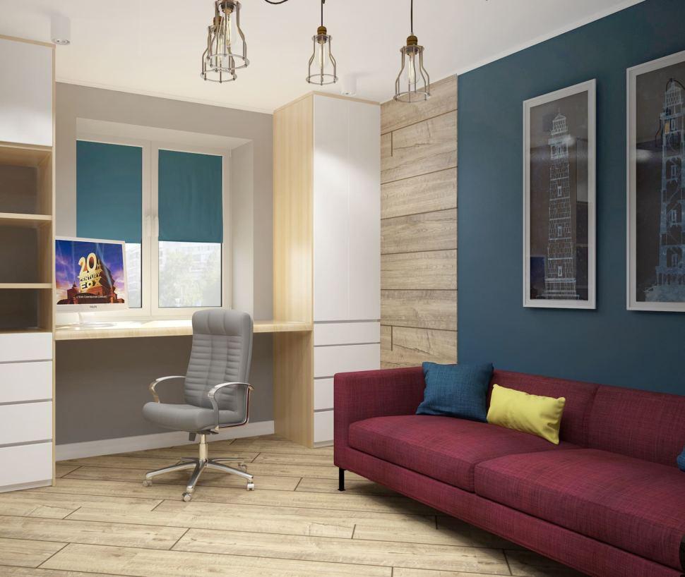 Визуализация детской 13 кв.м с бордовыми акцентами, стол под дерево, серое кресло, белый шкаф