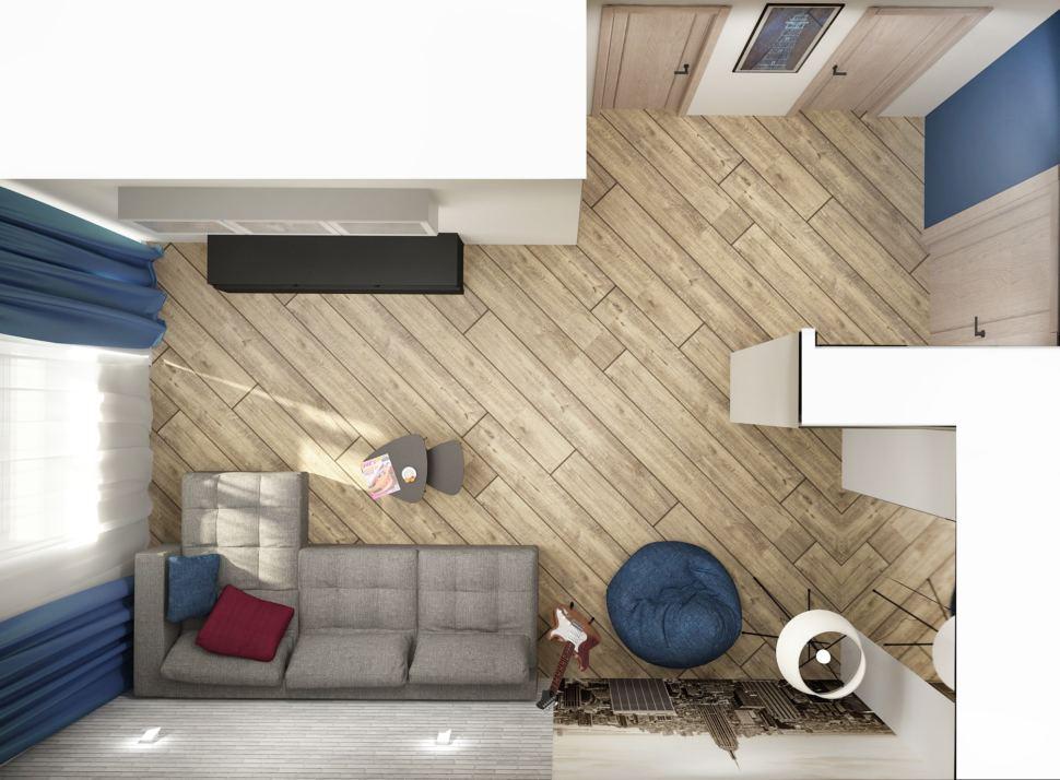Дизайн-проект гостиной в серых тонах с синими акцентами 18 кв.м, серый угловой диван, бежевый ламинат