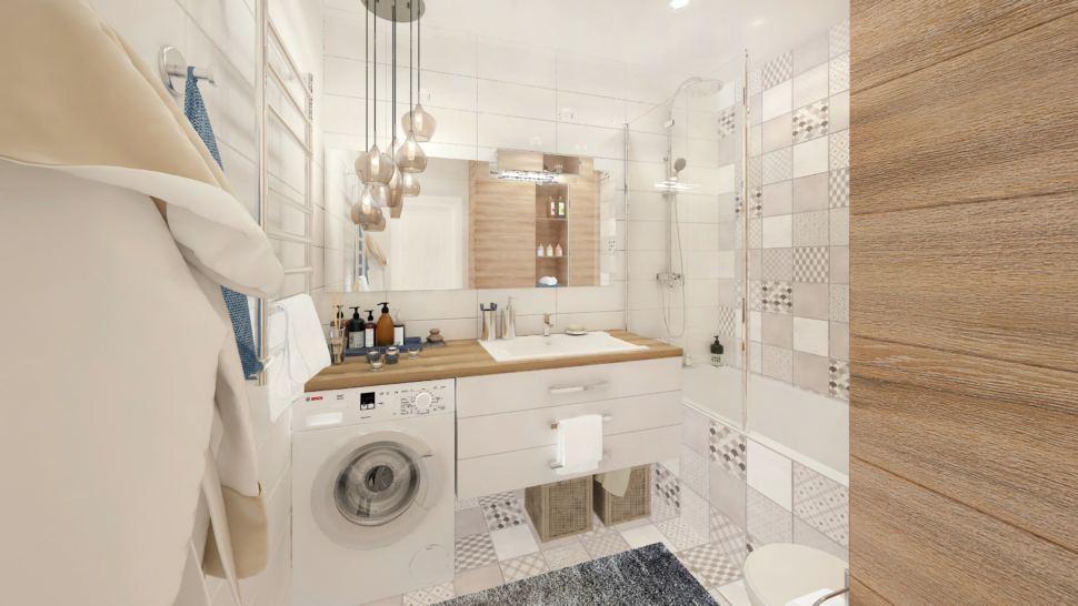 Дизайн-проект ванной комнаты в белых тонах с древесными оттенками 6 кв.м, геометрическая плитка, ванна, душ, подвесная тумба, зеркало