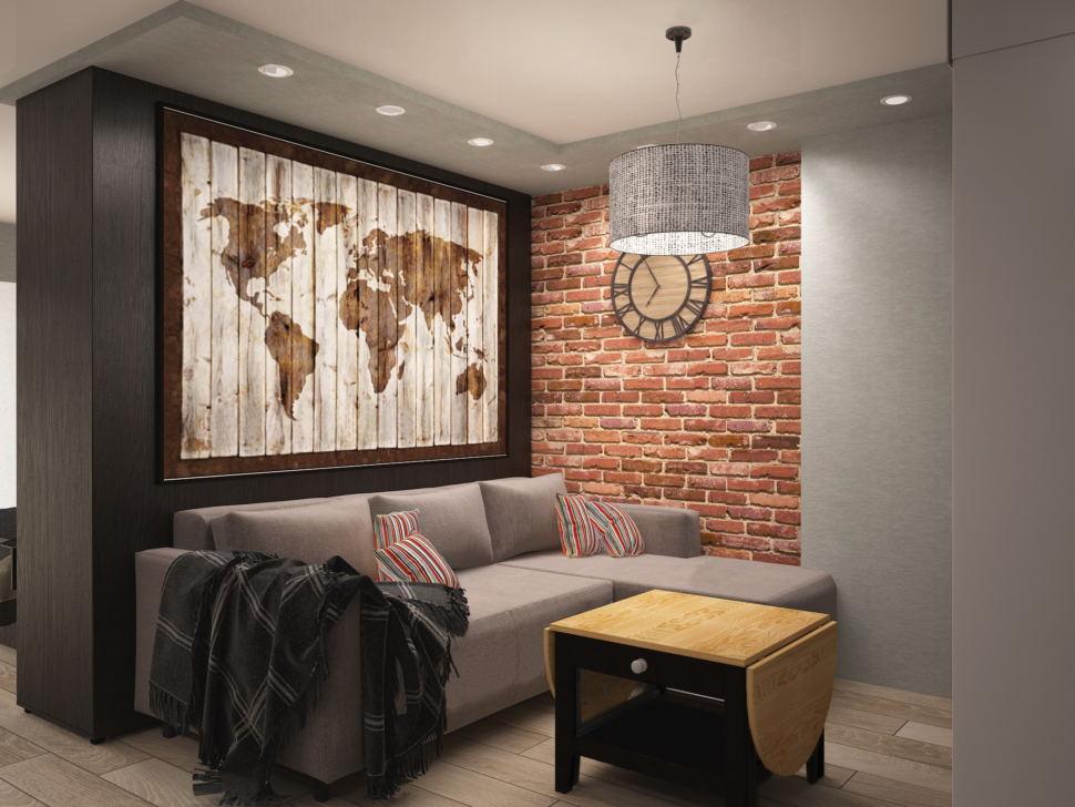 Проект кухни- гостиной в темных тонах 14 кв.м, журнальный столик, серый угловой диван, декор, карта