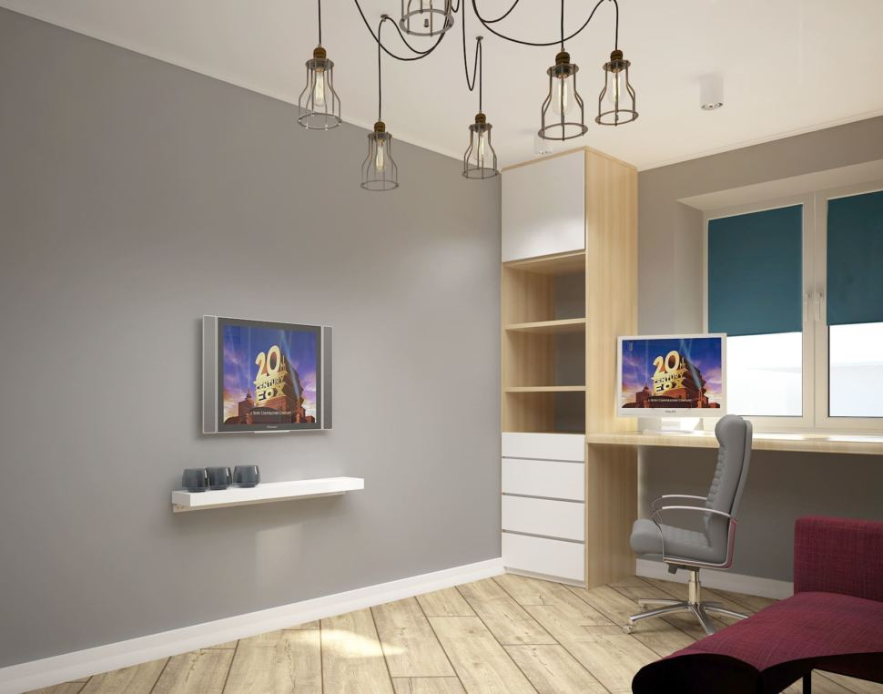 Визуализация детской 13 кв.м в серых тонах, телевизор, полки, шкаф, рабочий стол под окном