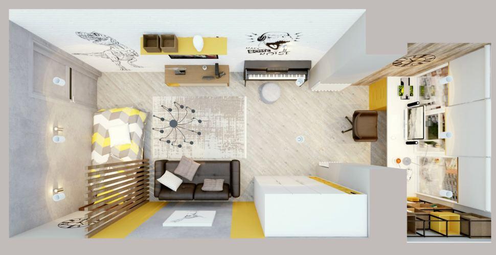 Визуализация детской комнаты в теплых тонах 22 кв.м, черный диван, белый шкаф, желтая полка, стеллаж, рабочий стол