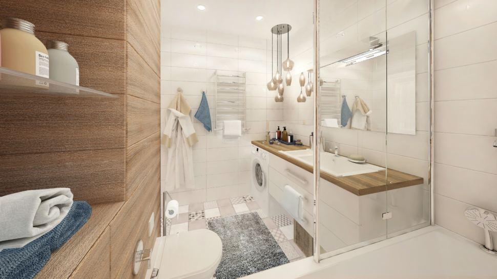 Дизайн-проект ванной комнаты в белых тонах с древесными оттенками 6 кв.м, стиральная машинка, полки, зеркало, подвесная тумба, сушилка