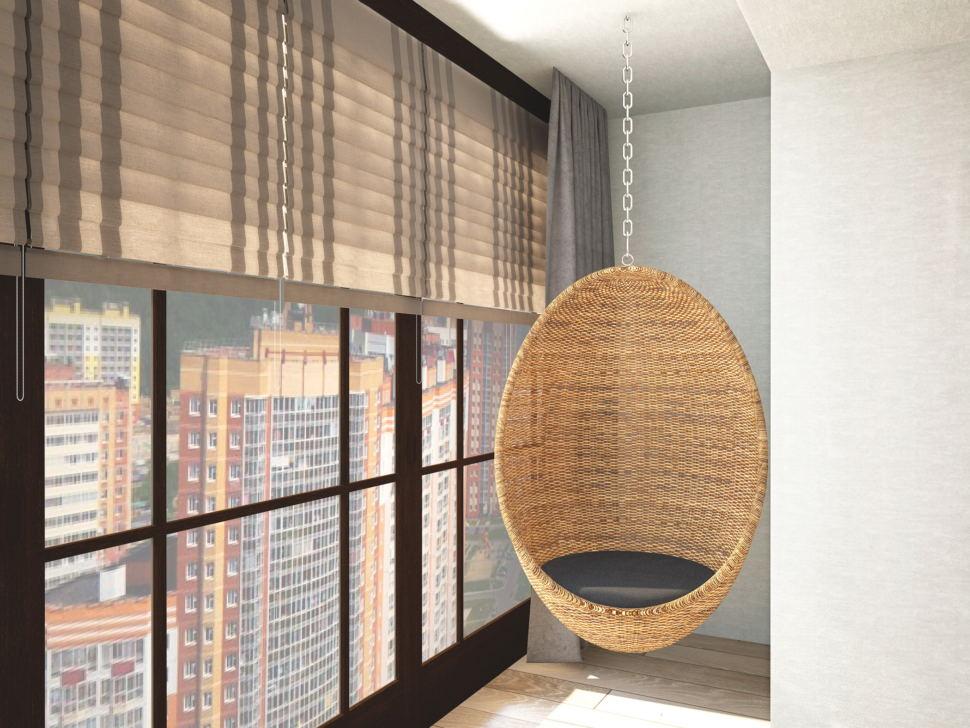 Дизайн-проект кухни- гостиной в темных тонах 14 кв.м, подвесное кресло, жалюзи, бежевый паркет