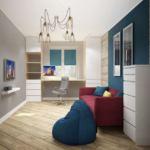 Дизайн детской 13 кв.м с синими оттенками, стол, бордовый диван, синее кресло мешок