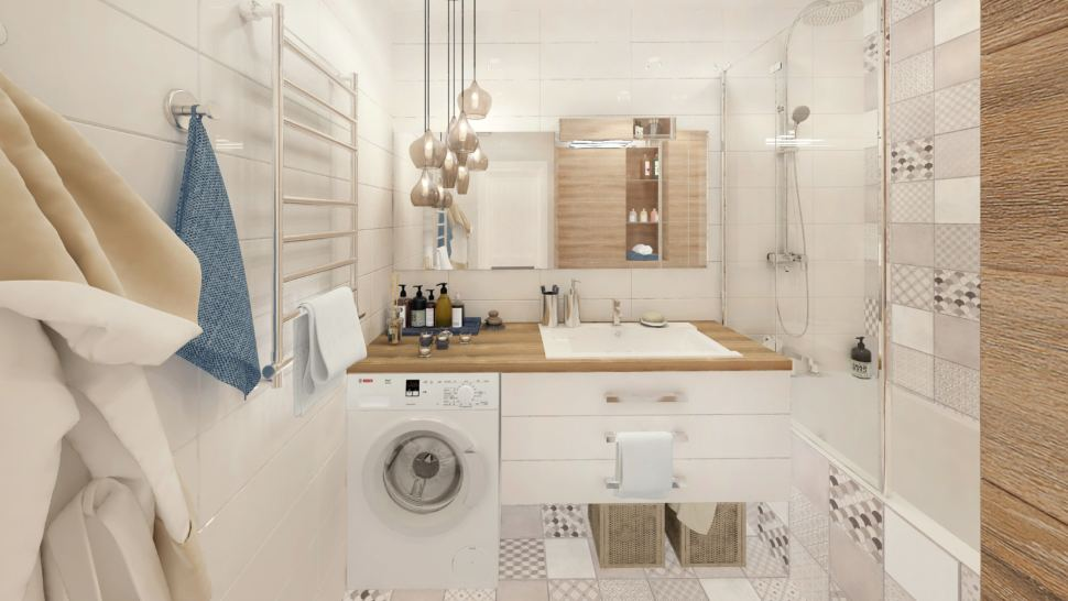 Визуализация ванной комнаты в белых тонах с древесными оттенками 6 кв.м, стиральная машинка, белая подвесная тумба, раковина, зеркало