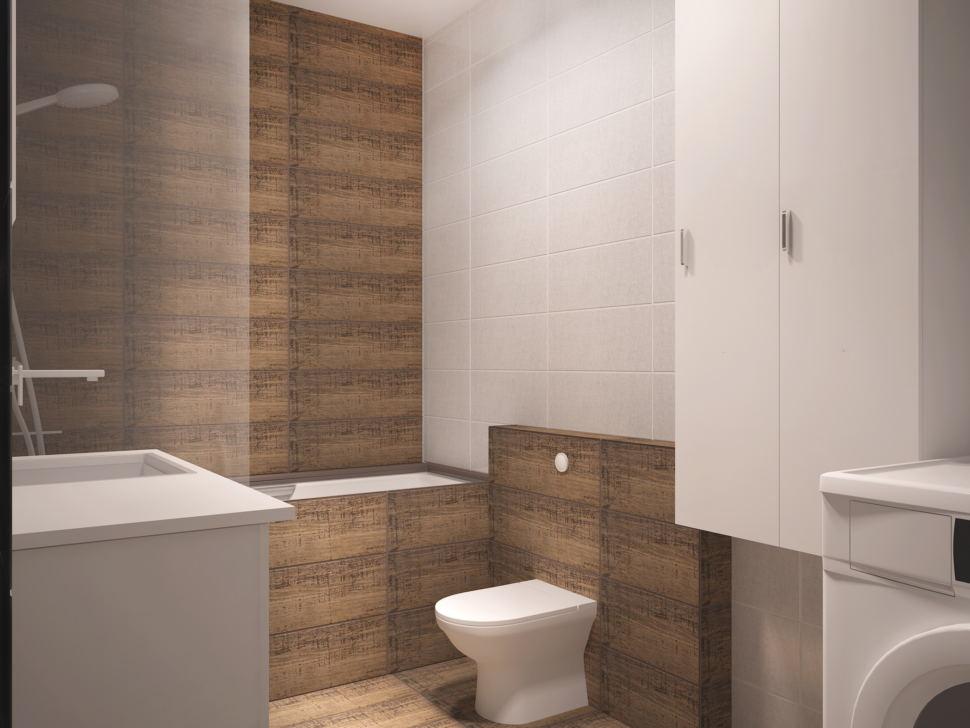 Дизайн интерьера совмещённой ванной комнаты 5 кв.м с белыми оттенками, белый шкаф, белая тумба, унитаз, ванная