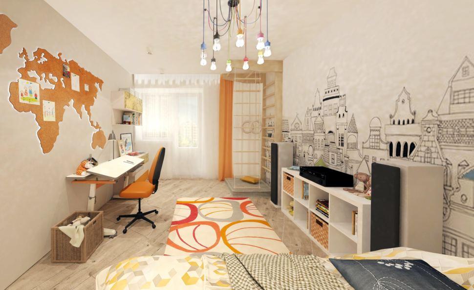 Дизайн интерьера детской комнаты с оранжевыми и бежевыми акцентами 14 кв.м, кровать, белая тумба, шведская стенка, люстра
