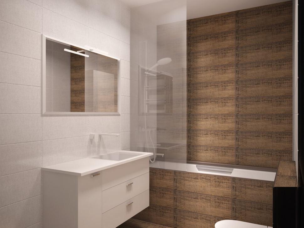 Дизайн-проект совмещённой ванной комнаты 5 кв.м с древесными оттенками, белый шкаф, белая тумба, унитаз, ванная