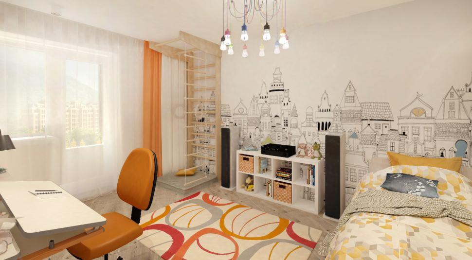 Дизайн-проект детской комнаты с оранжевыми и бежевыми акцентами 14 кв.м, шведская стенка, белая тумба, кровать, фотообои