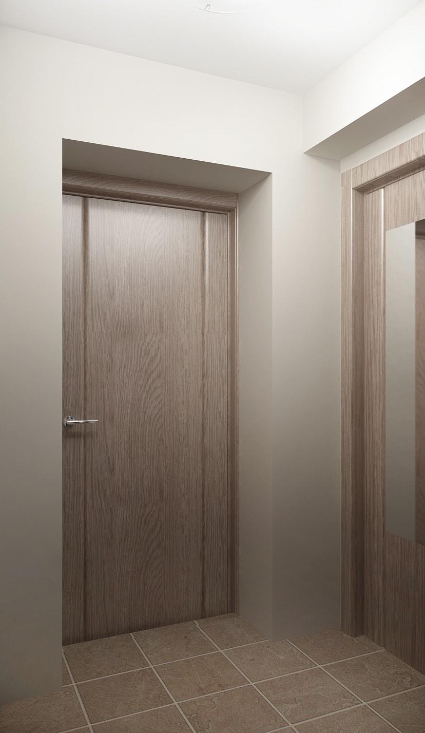 Дизайн прихожей в серых тонах 5 кв.м, плитка, зеркало, светильники