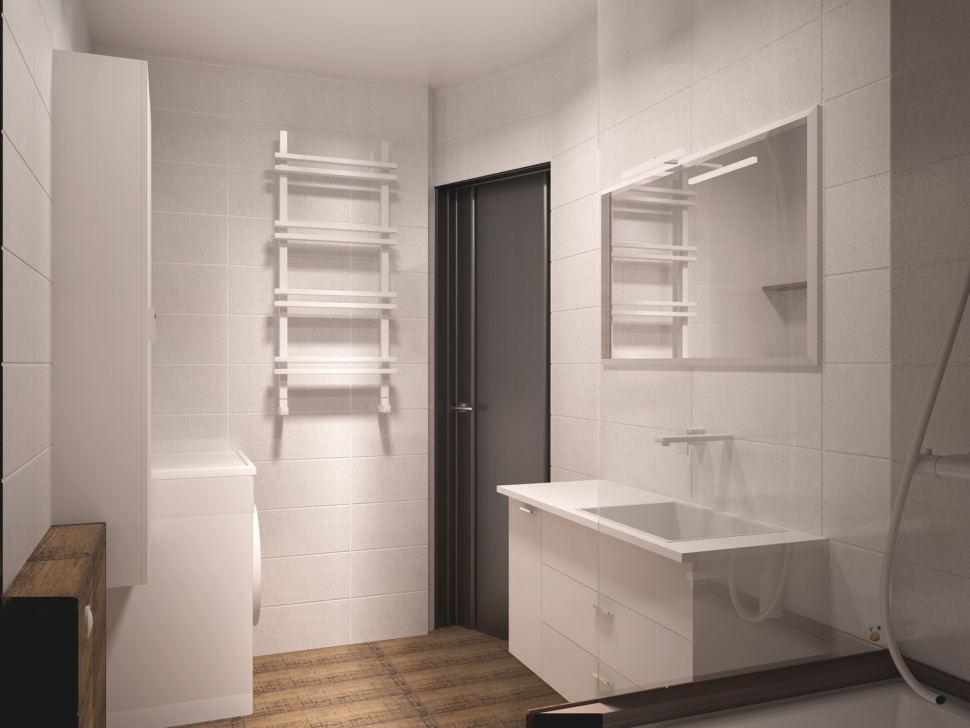 Проект ванной комнаты 5 кв.м в белых тонах, белая тумба, раковина, зеркало, светильники, стиральная машинка