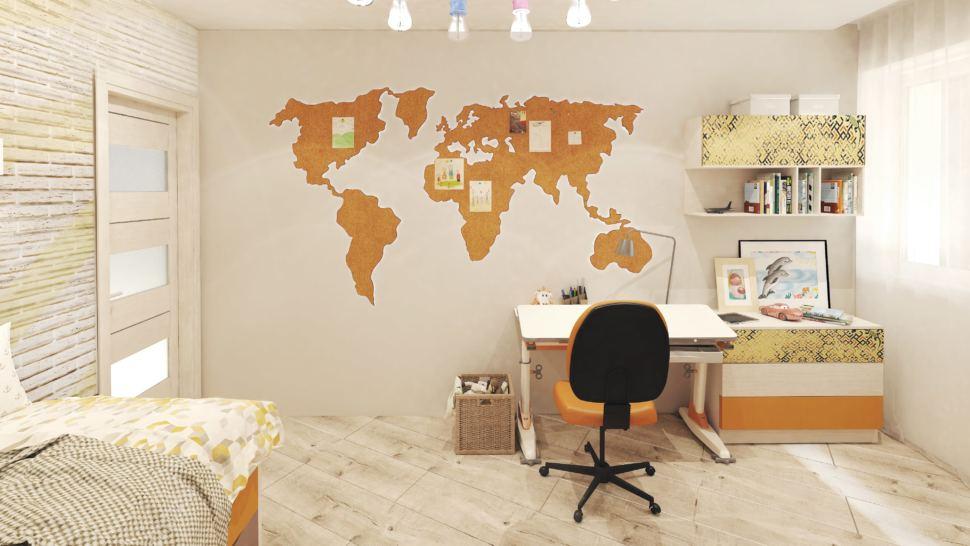 Визуализация детской комнаты с оранжевыми и бежевыми акцентами 14 кв.м, рабочий стол, оранжевое офисное кресло