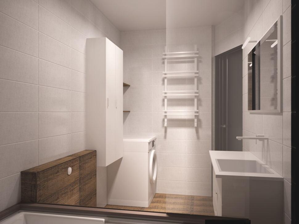 Дизайн интерьера совмещённой ванной комнаты 5 кв.м с белыми оттенками, белый шкаф, белая тумба, унитаз, ванная, зеркало