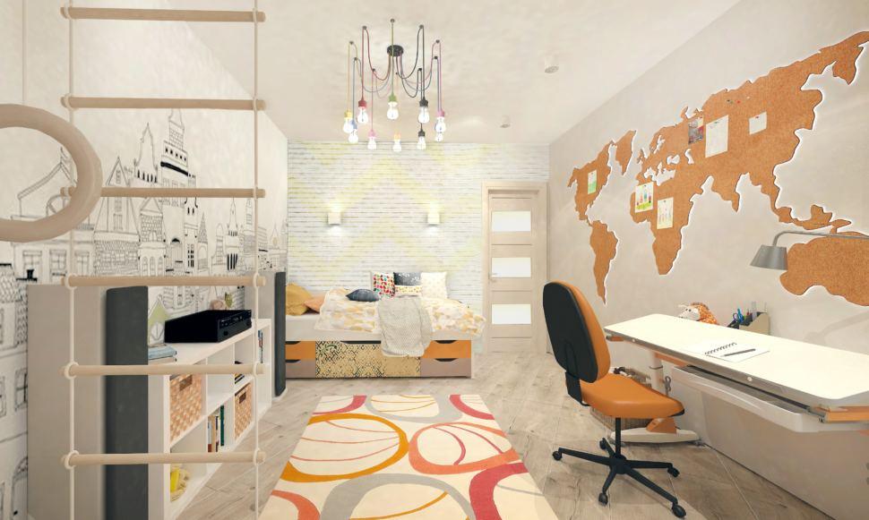 Проект детской комнаты с оранжевыми и бежевыми акцентами 14 кв.м, шведская стенка, люстра, рабочий стол, кровать, светильники