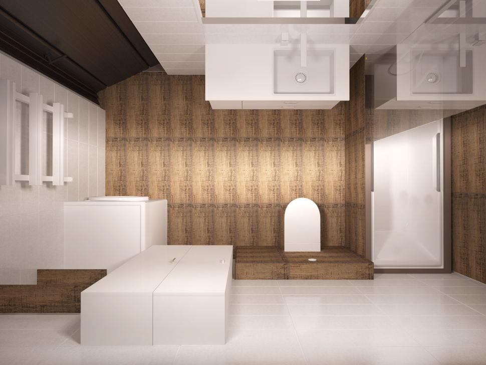 Дизайн-проект совмещённой ванной комнаты 5 кв.м с белыми оттенками, белый шкаф, белая тумба, унитаз, зеркало