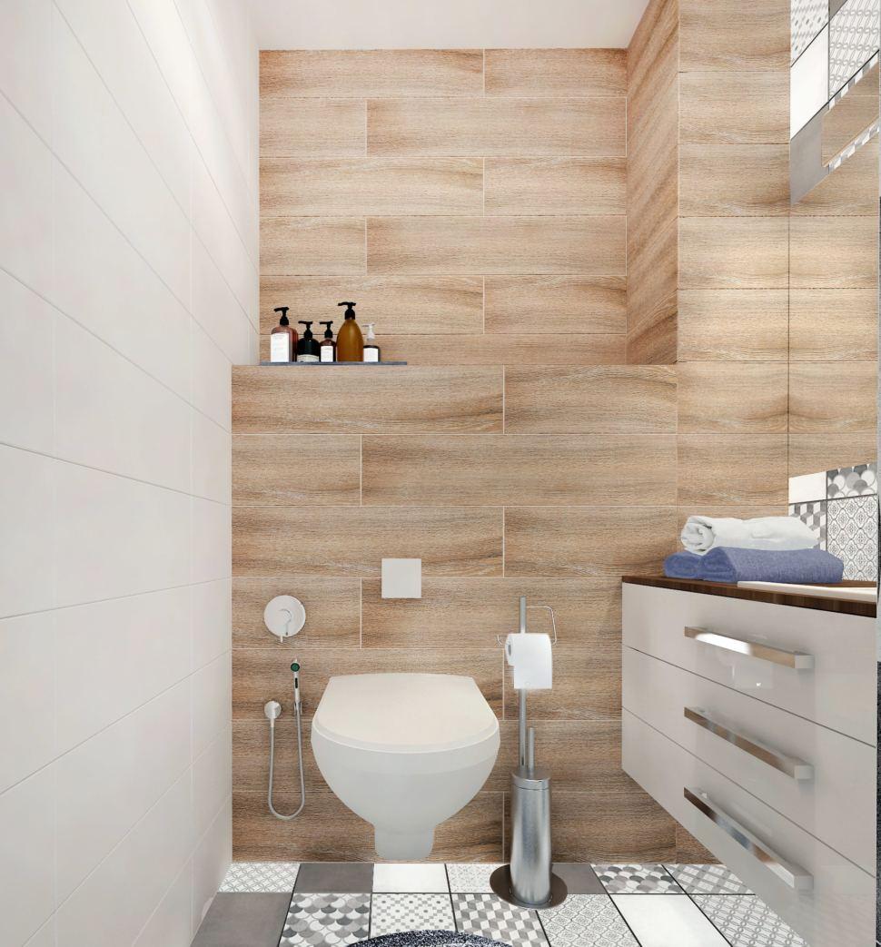 Дизайн интерьера санузла 2 кв.м с древесными оттенками, зеркало, унитаз, раковина, тумба, светильники, плитка