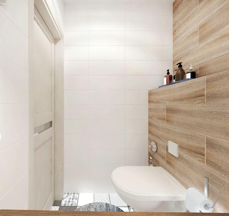 Дизайн интерьера санузла в белых тонах 2 кв.м, унитаз, полки, серая геометрическая плитка, светильники