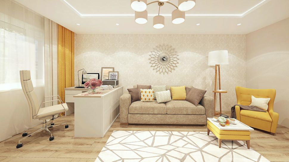 Визуализация гостиной 18 кв.м с рабочей зоной, современный стиль с бежевыми оттенками, люстра, кресло и пуф горчичного цвета, люстра