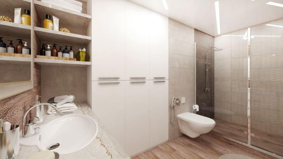 Дизайн-проект ванной комнаты в белых тонах 8 кв.м, белый шкаф, полки, раковина, зеркало, унитаз, душевая кабина