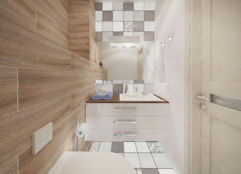 Дизайн-проект санузла в белых тонах 2 кв.м, унитаз, белая подвесная тумба, раковина, зеркало, светильники, геометрическая плитка