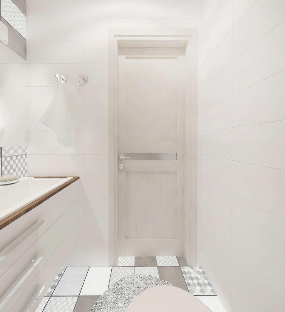 Визуализация санузла в белых тонах 2 кв.м, серая геометрическая плитка, белая подвесная тумба, коврик, светильники, зеркало
