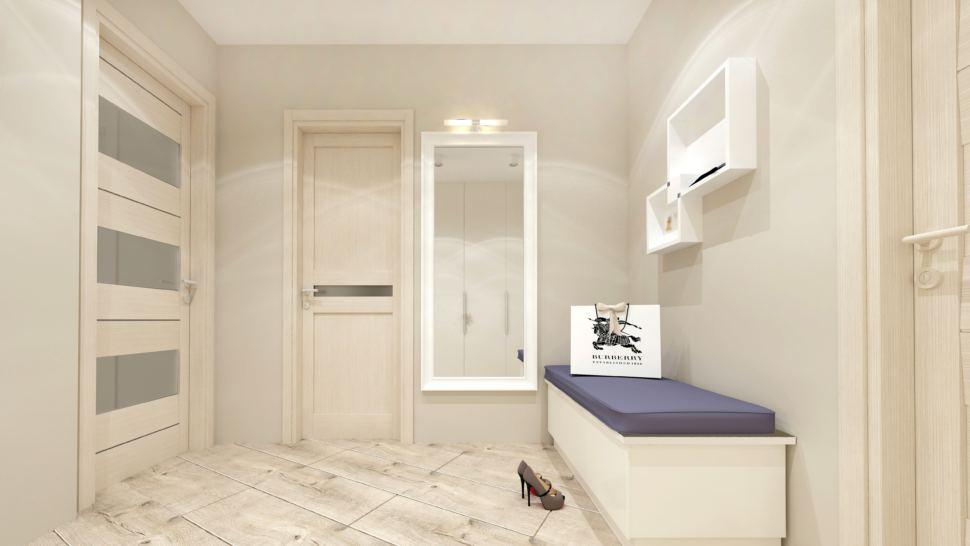 Дизайн интерьера прихожей в бежевых тонах 10 кв.м, белая скамья, белые полки, зеркало, светильники, бежевый ламинат
