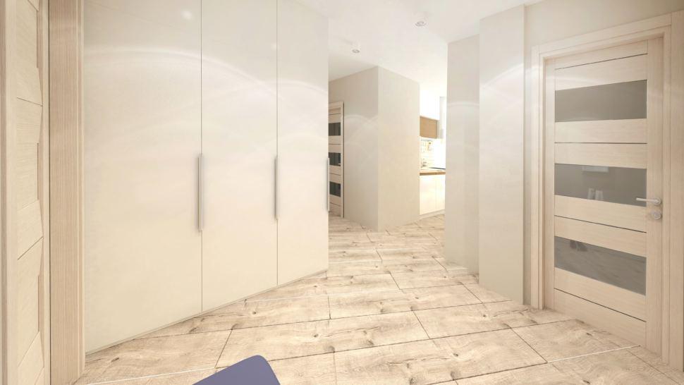 Дизайн-проект прихожей в бежевых тонах 10 кв.м, белый шкаф, бежевый ламинат, синяя скамья