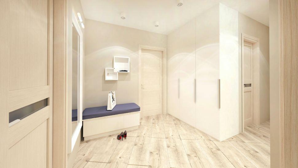 Визуализация прихожей в белых тонах 10 кв.м, белая скамья, белый шкаф, зеркало, полки, бежевый ламинат