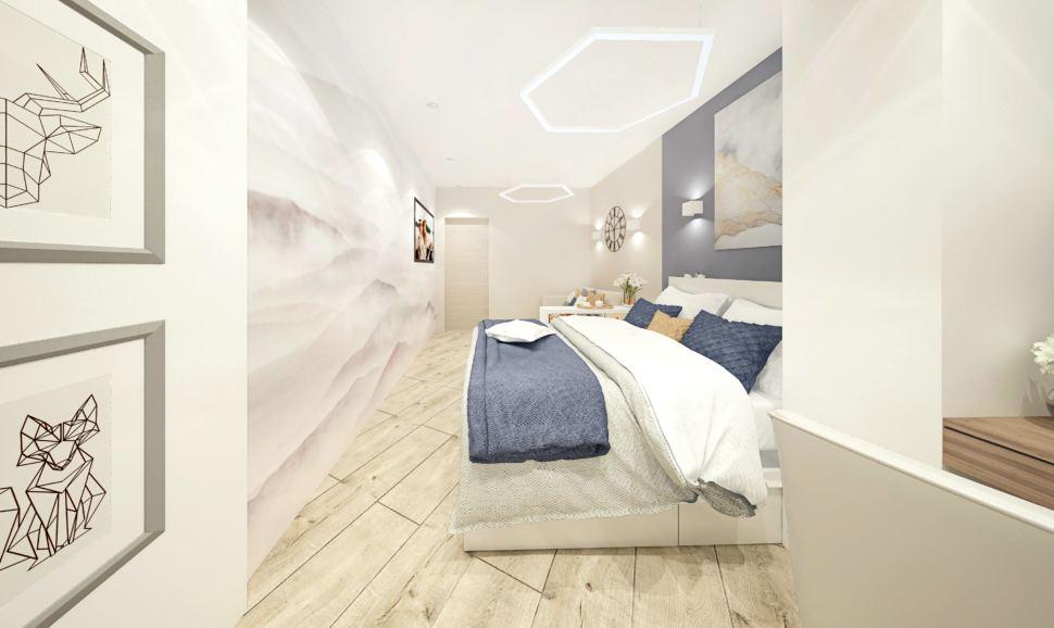 Дизайн-проект гостиной-спальни в белых тонах с синими оттенками 15 кв.м, кровать, часы, светильники, бежевый ламинат, фотообои