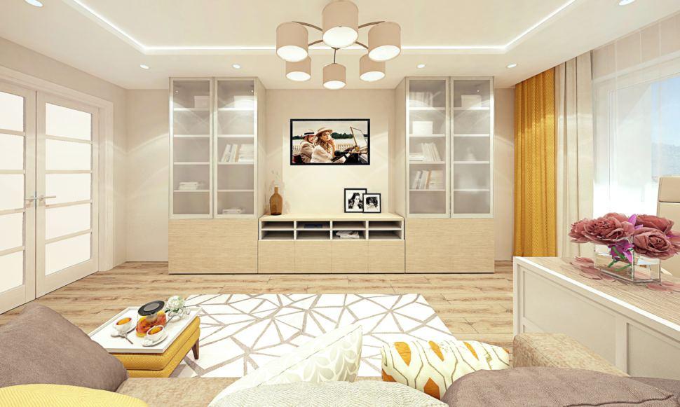 Дизайн интерьера гостиной 18 кв.м с рабочей зоной, современный стиль с древесными оттенками, люстра, кресло и пуф горчичного цвета, диван