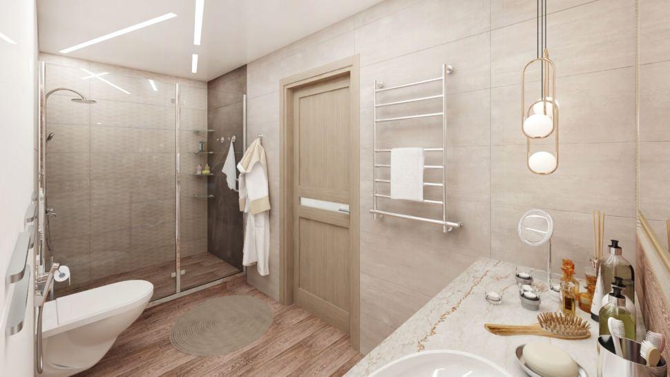 Визуализация ванной комнаты в белых тонах 8 кв.м, душевая кабина, унитаз, золотые подвесные светильники, раковина, зеркало